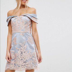 ASOS Chi Chi London Floral Lace Bardot Dress